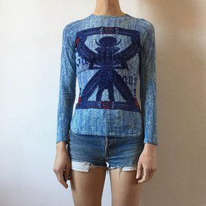 New vintage Gaultier Egyptian scarab print blouse